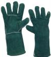 Перчатки  рабочие с крагами спилковые на подкладке зеленые