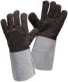 Перчатки  рабочие с крагами спилковые бело-коричневые